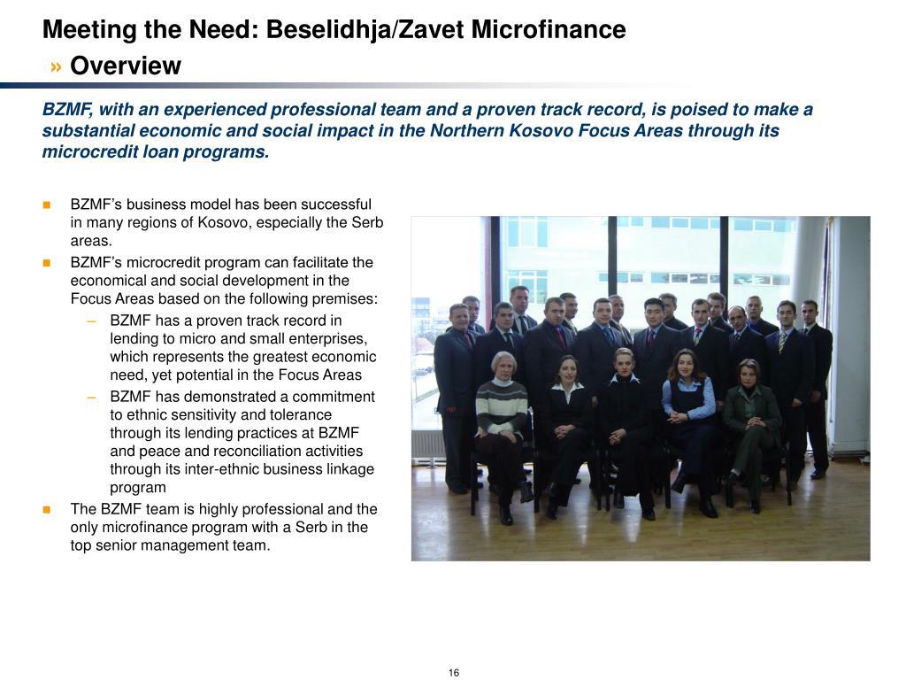Meeting the Need: Beselidhja/Zavet Microfinance