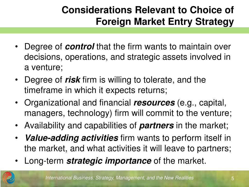 Considerations Relevant to Choice of