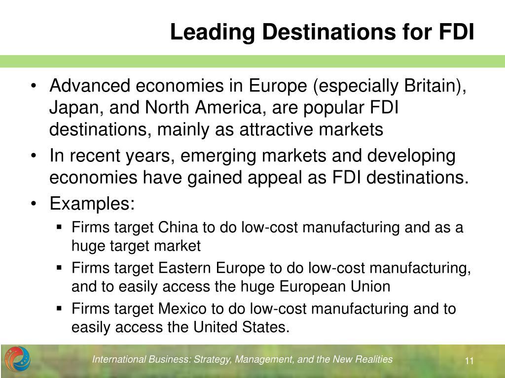 Leading Destinations for FDI