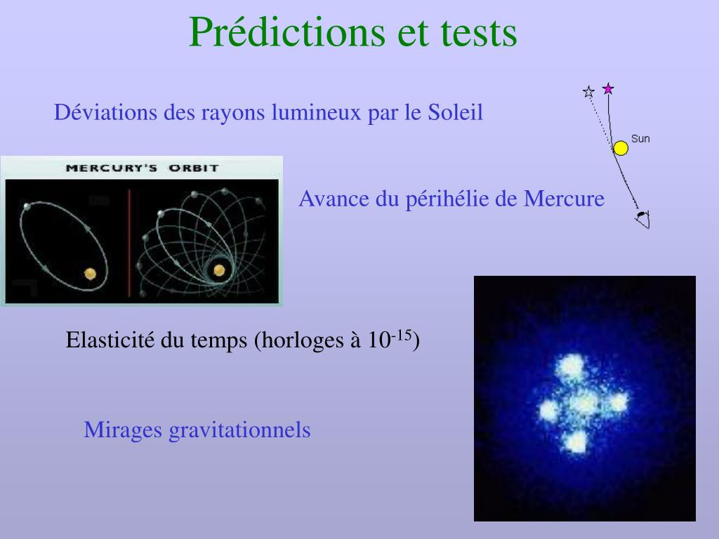 Prédictions et tests