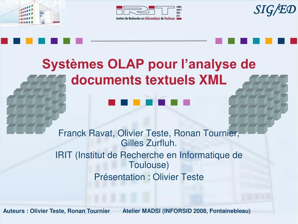 Systèmes OLAP pour l'analyse de documents textuels XML