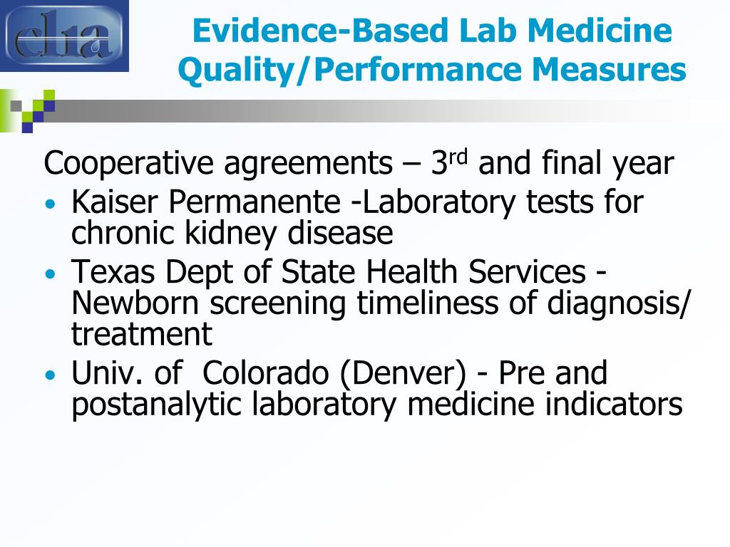 Evidence-Based Lab Medicine Quality/Performance Measures