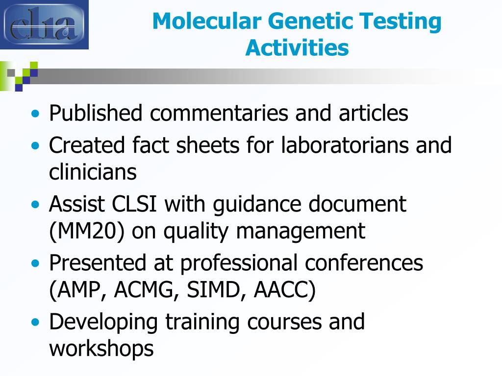 Molecular Genetic Testing Activities
