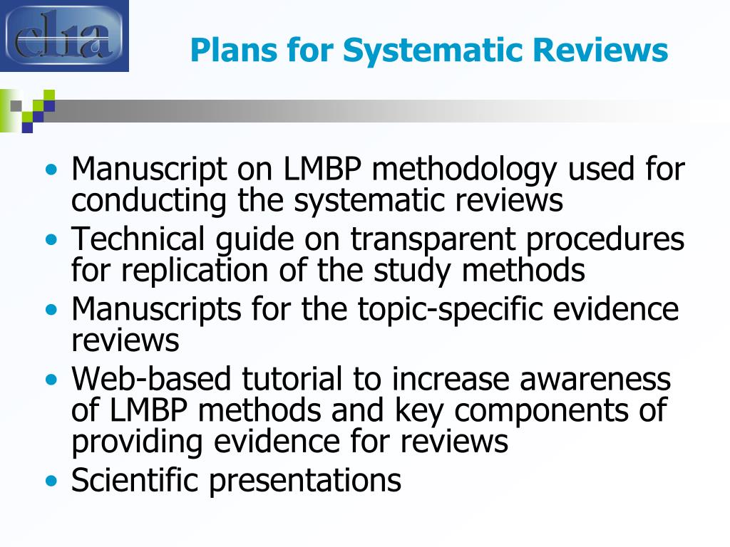 Plans for Systematic Reviews