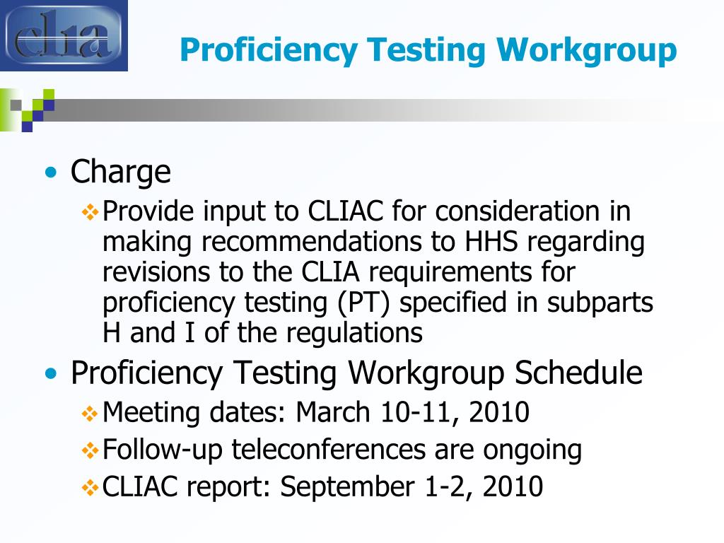 Proficiency Testing Workgroup