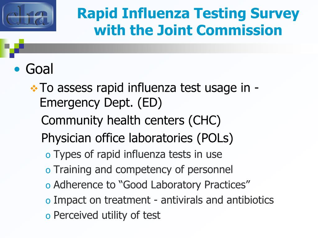 Rapid Influenza Testing Survey with the Joint Commission