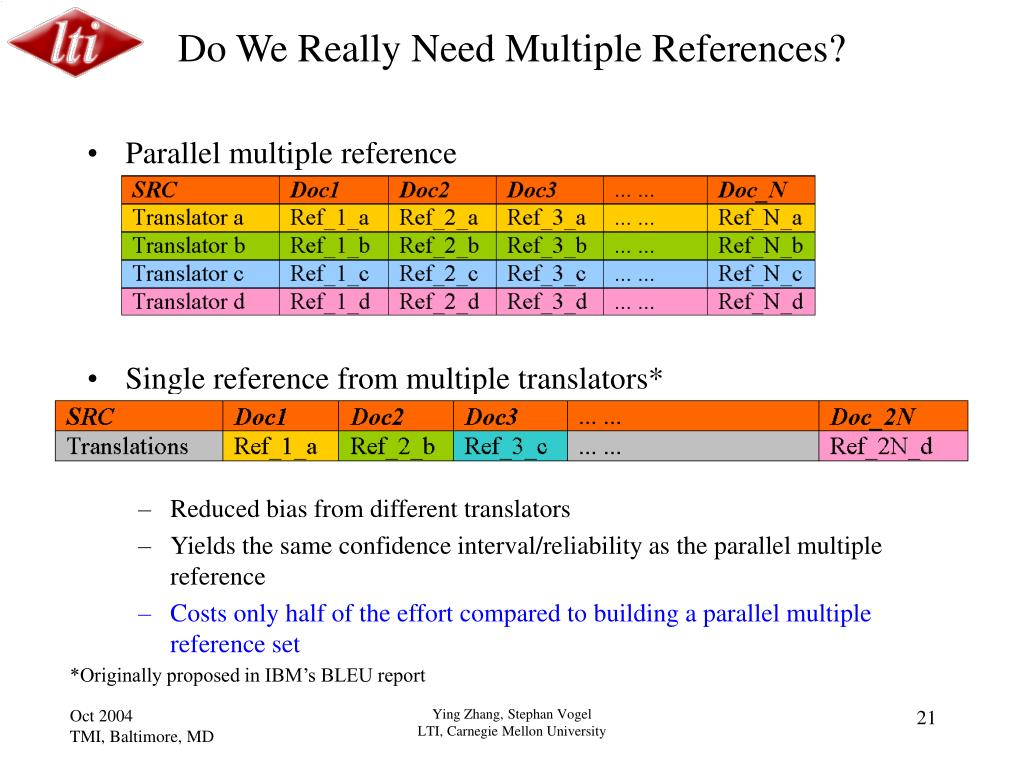 Do We Really Need Multiple References?