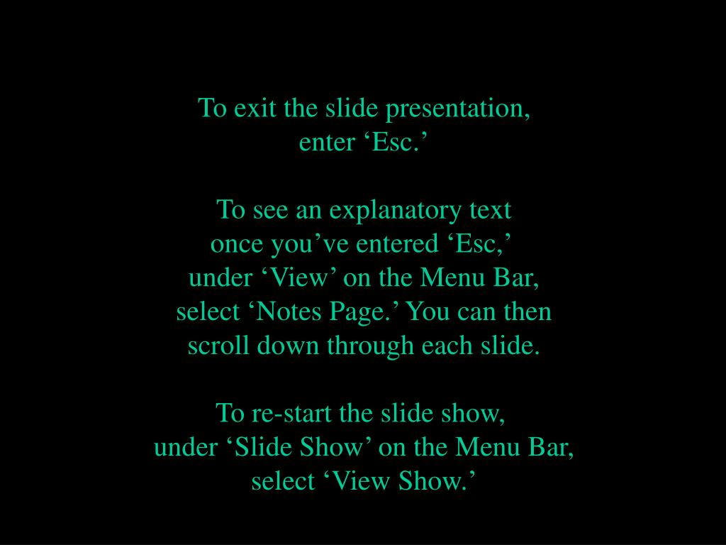 To exit the slide presentation,