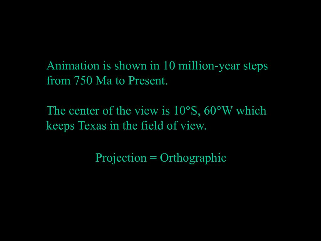 Animation is shown in 10 million-year steps from 750 Ma to Present.