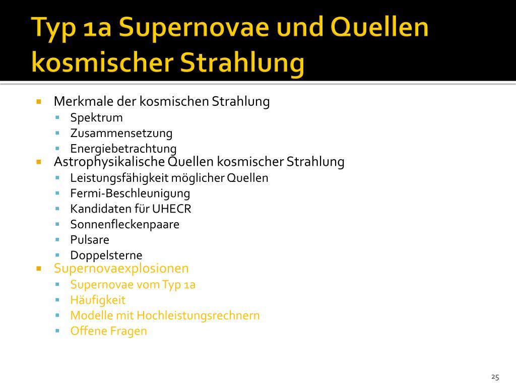 Typ 1a Supernovae und Quellen kosmischer Strahlung