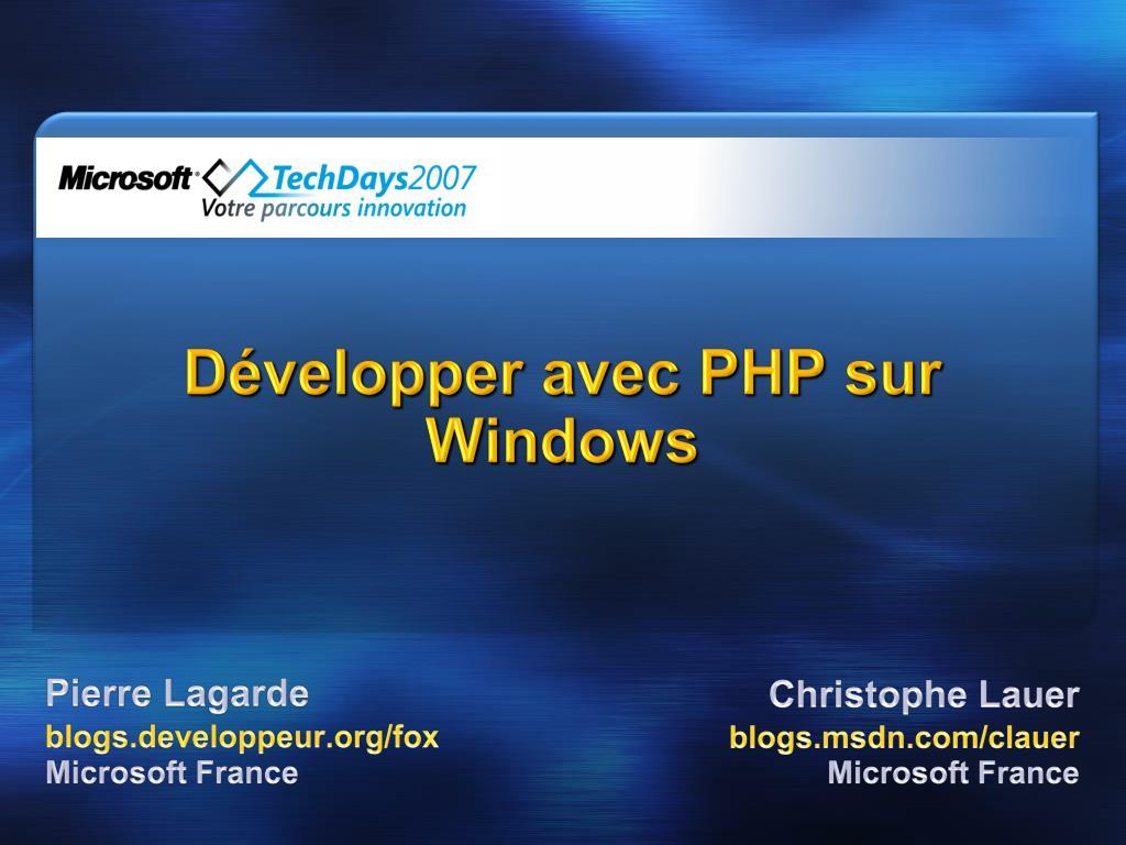 d velopper avec php sur windows l.