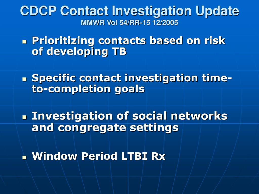 CDCP Contact Investigation Update