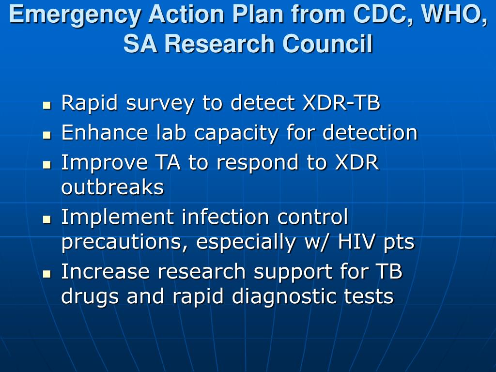 Emergency Action Plan from CDC, WHO, SA Research Council