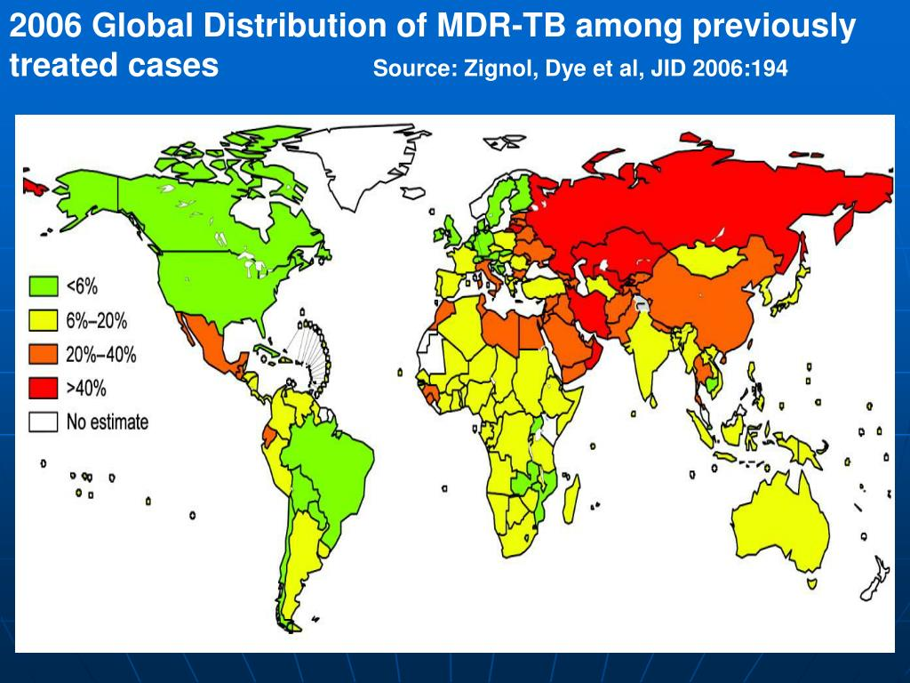 2006 Global Distribution of MDR-TB among previously treated cases