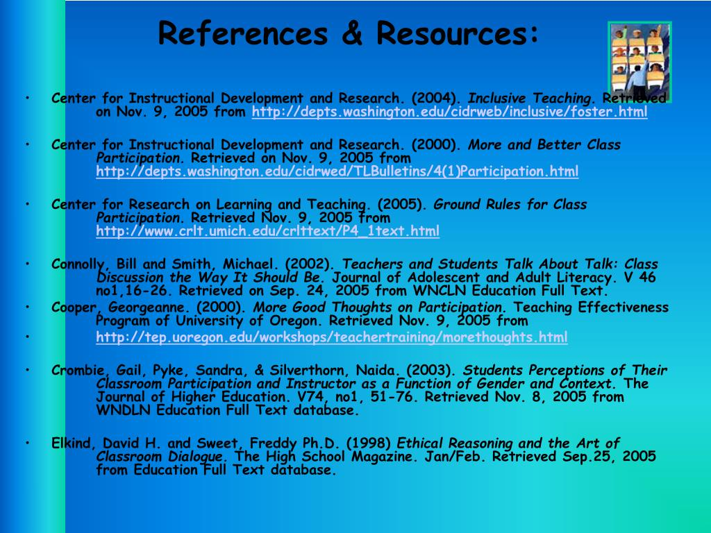 References & Resources: