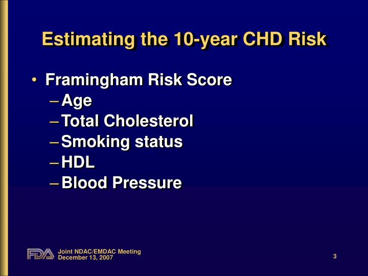 Estimating the 10 year chd risk