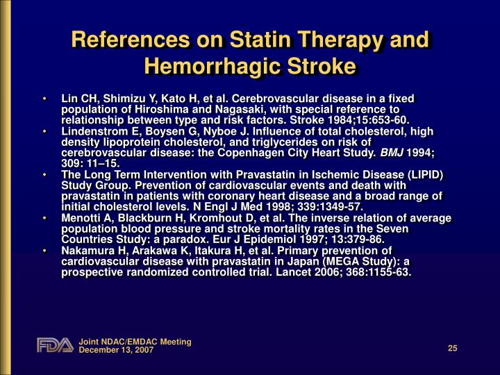 References on Statin Therapy and Hemorrhagic Stroke