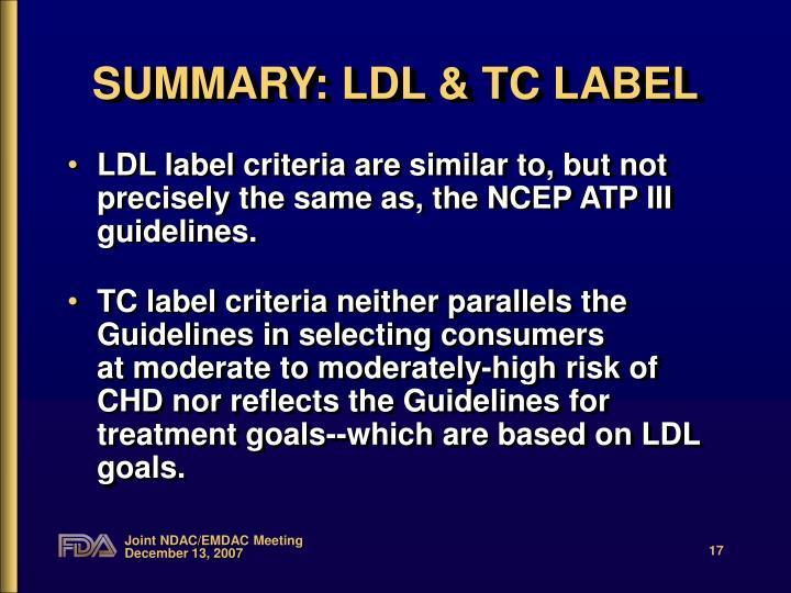 SUMMARY: LDL & TC LABEL