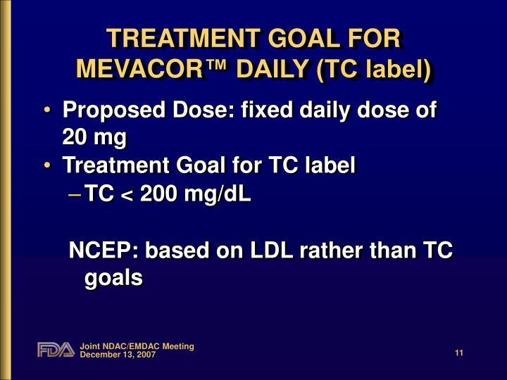 TREATMENT GOAL FOR MEVACOR