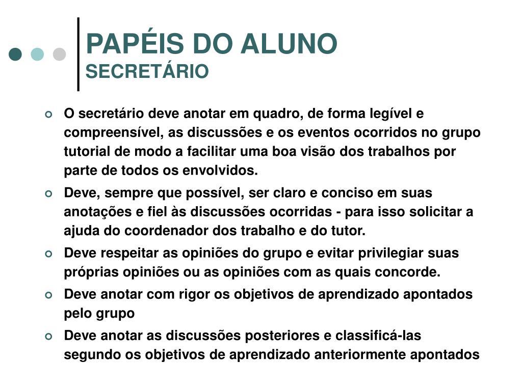 PAPÉIS DO ALUNO