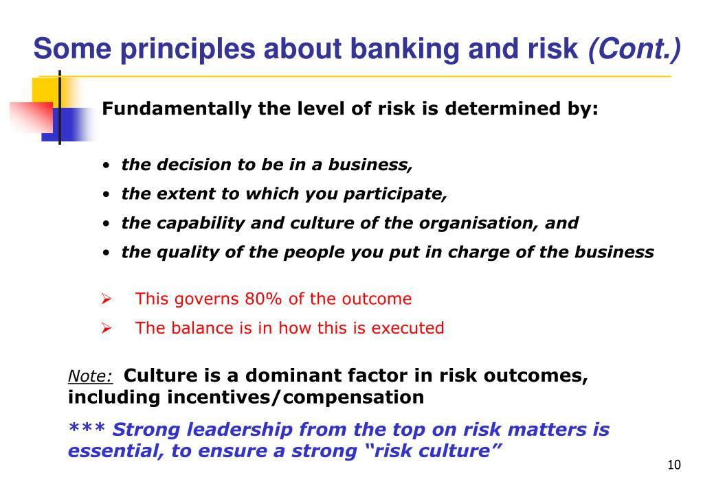 Some principles about banking and risk