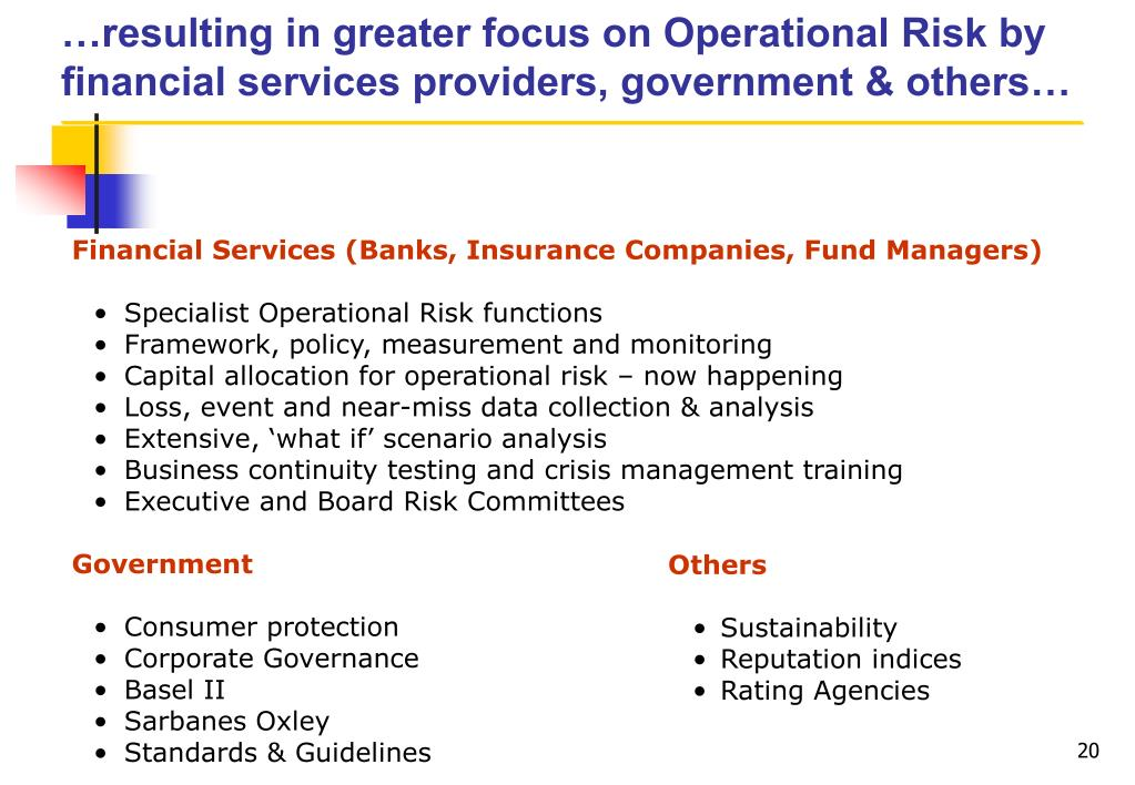 …resulting in greater focus on Operational Risk by financial services providers, government & others…