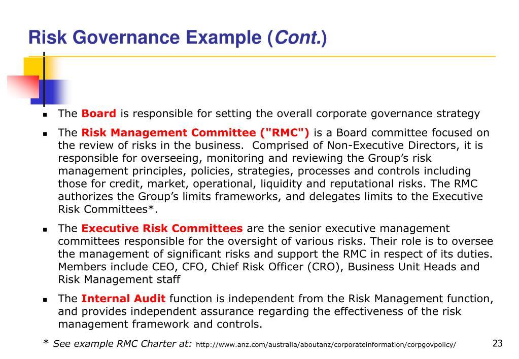 Risk Governance Example (