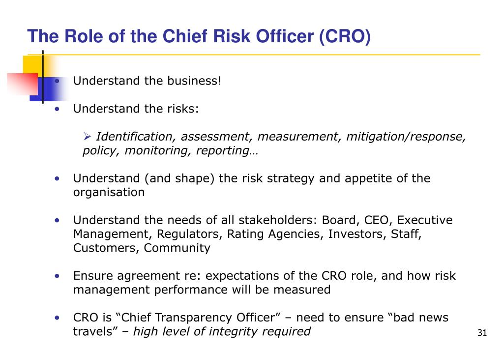 The Role of the Chief Risk Officer (CRO)