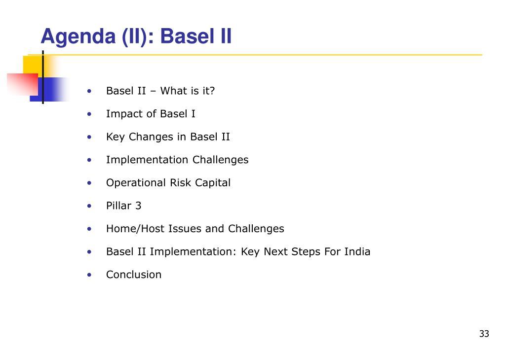 Agenda (II): Basel II