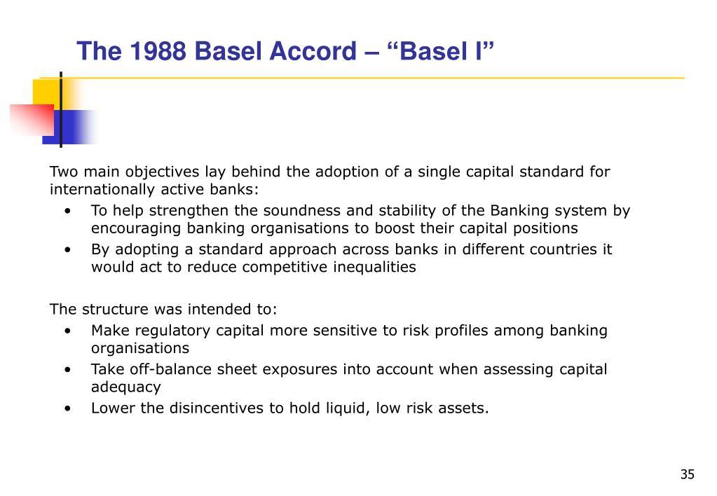 """The 1988 Basel Accord – """"Basel I"""""""