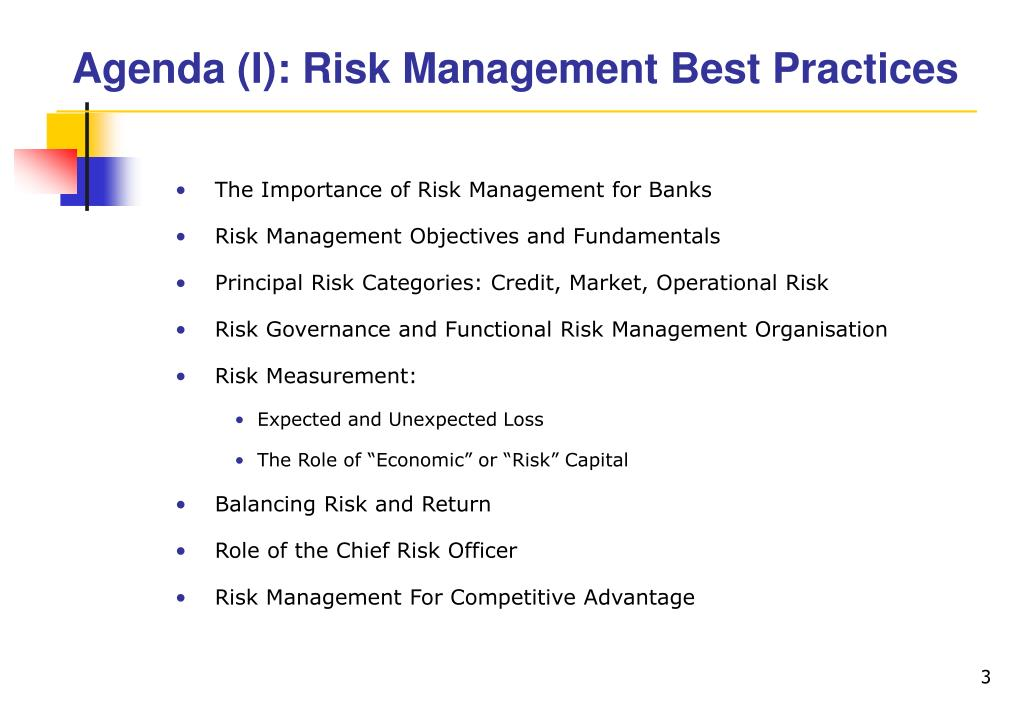 Agenda (I): Risk Management Best Practices