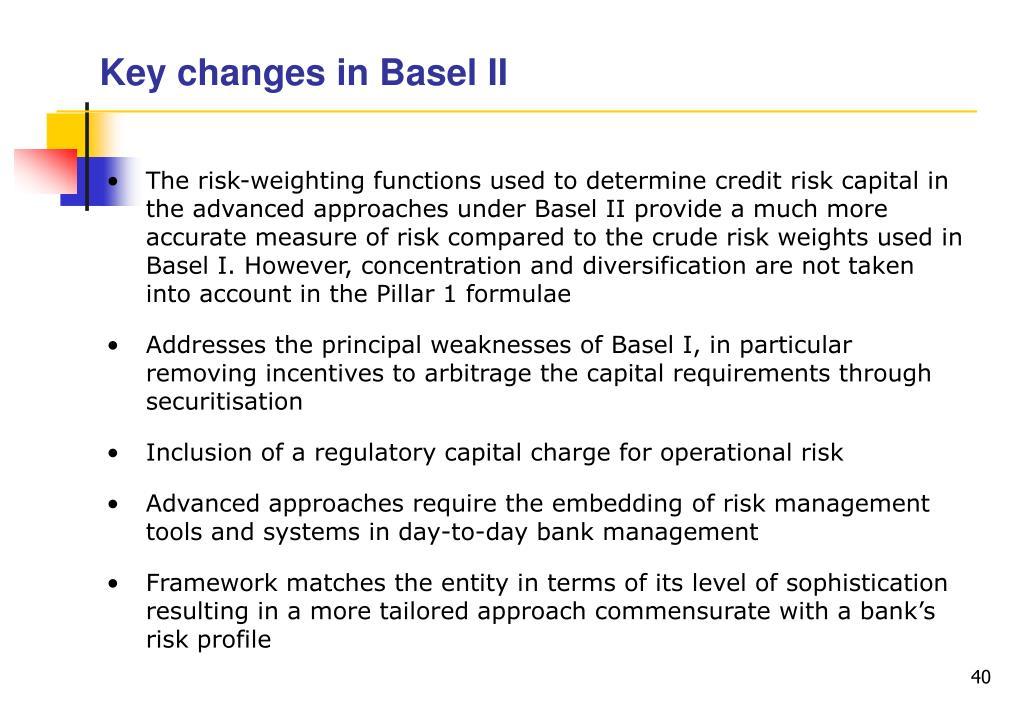 Key changes in Basel II