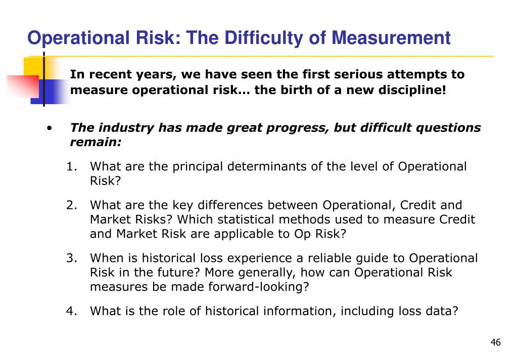 Operational Risk: The Difficulty of Measurement