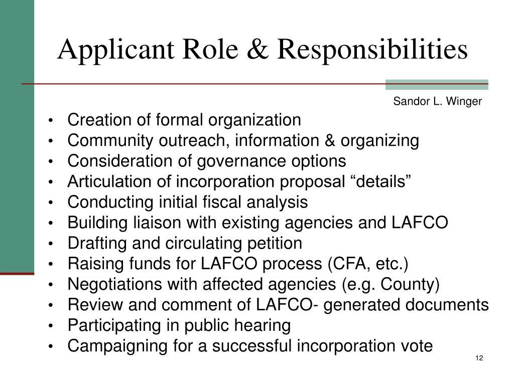Applicant Role & Responsibilities