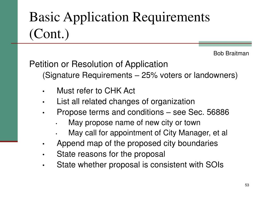 Basic Application Requirements (Cont.)
