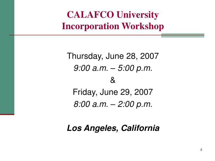 Calafco university incorporation workshop