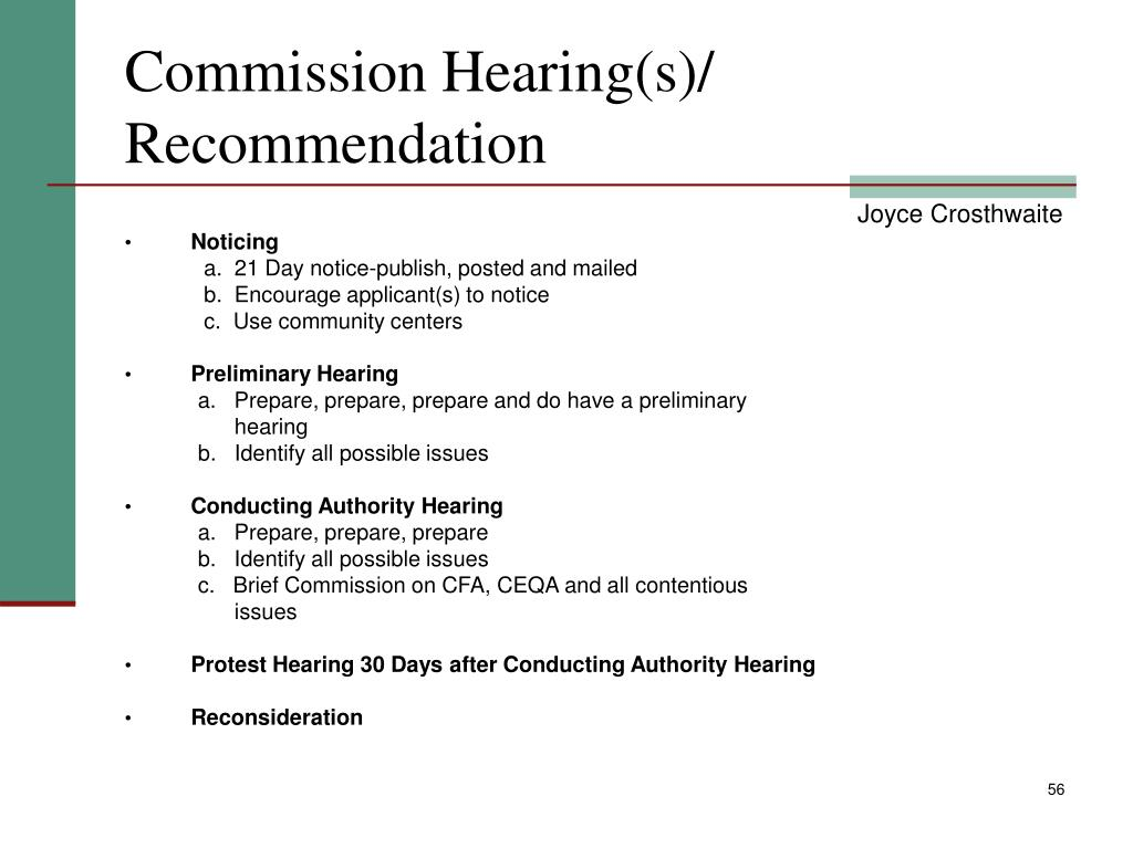 Commission Hearing(s)/ Recommendation