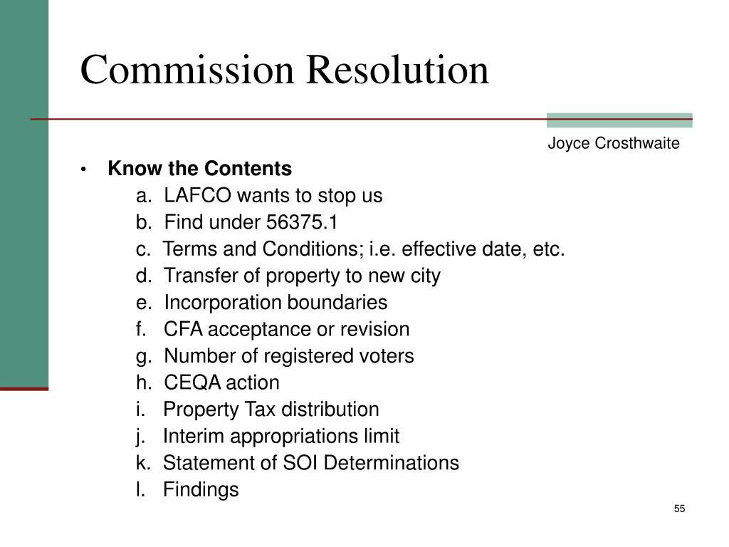 Commission Resolution