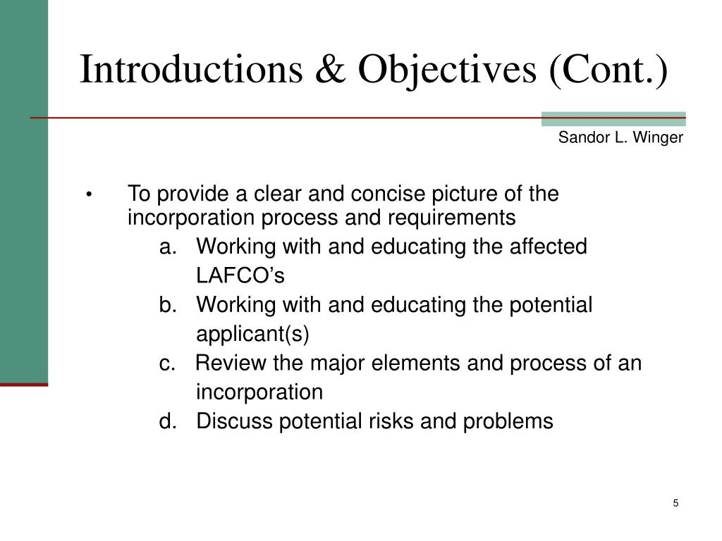 Introductions & Objectives (Cont.)