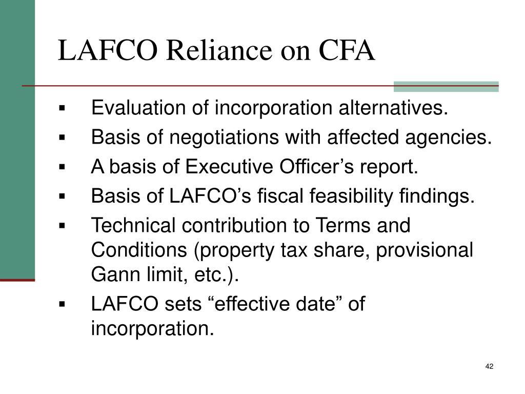 LAFCO Reliance on CFA