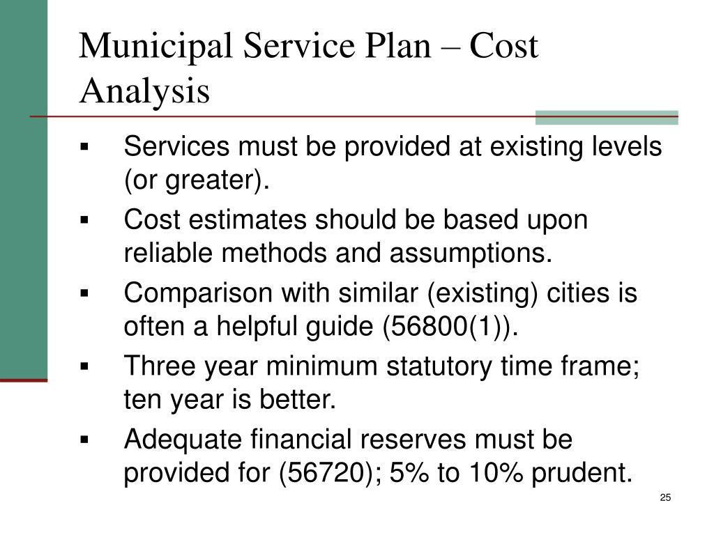 Municipal Service Plan – Cost Analysis