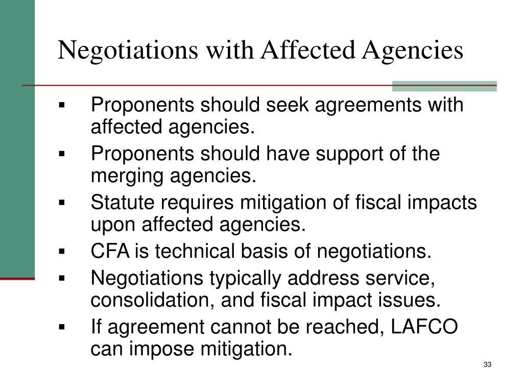 Negotiations with Affected Agencies