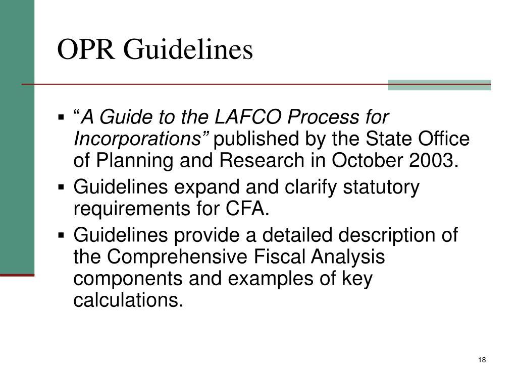 OPR Guidelines