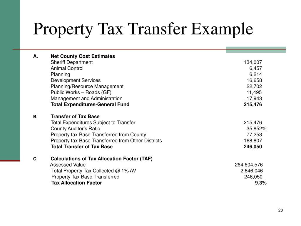 Property Tax Transfer Example