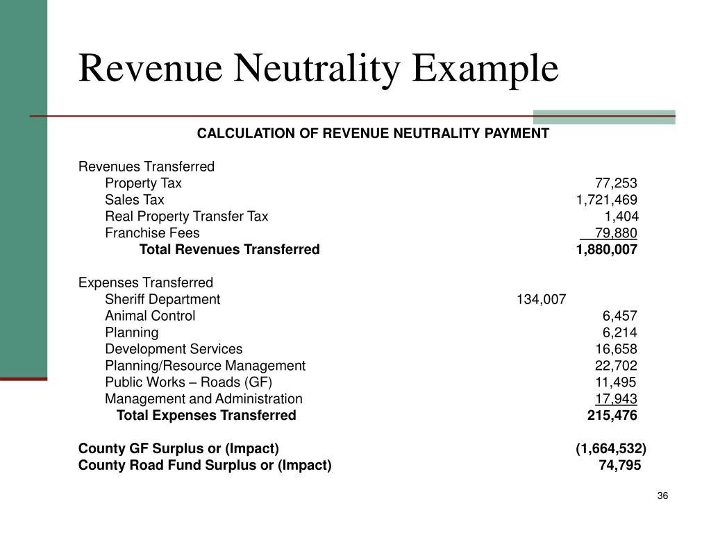 Revenue Neutrality Example