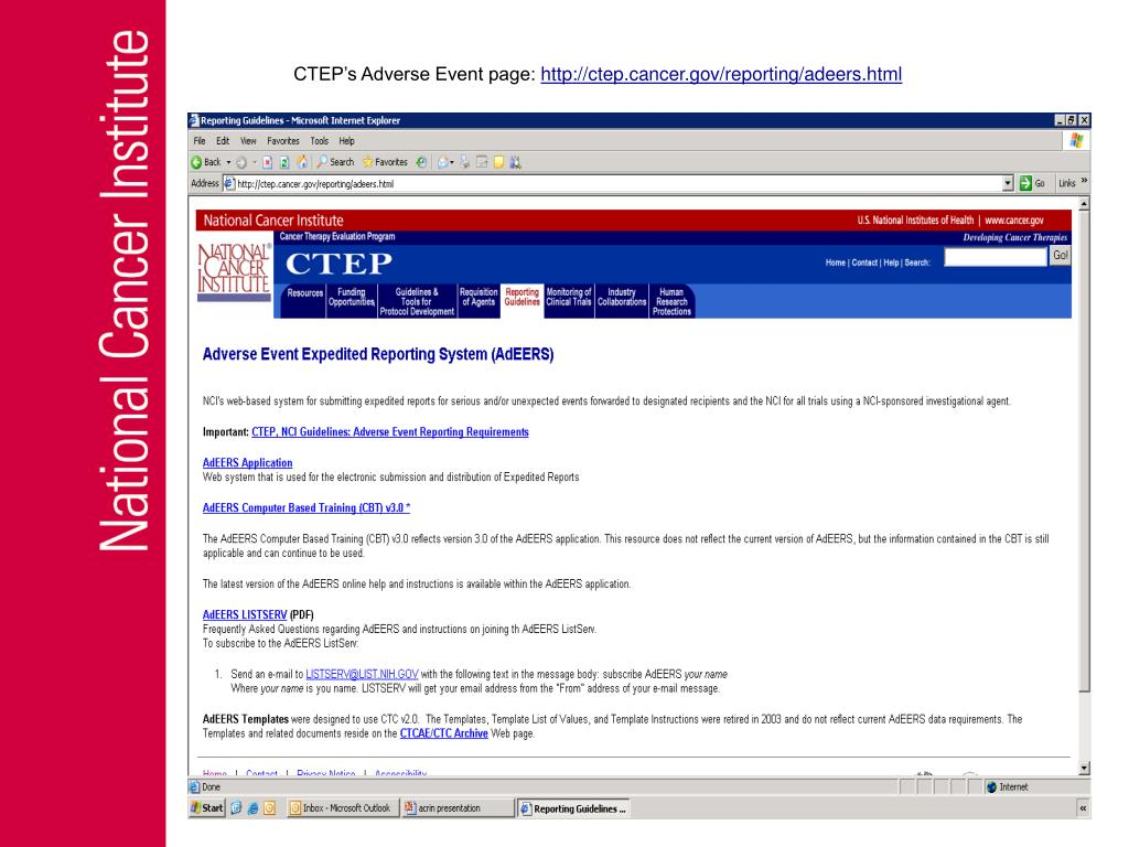 CTEP's Adverse Event page: