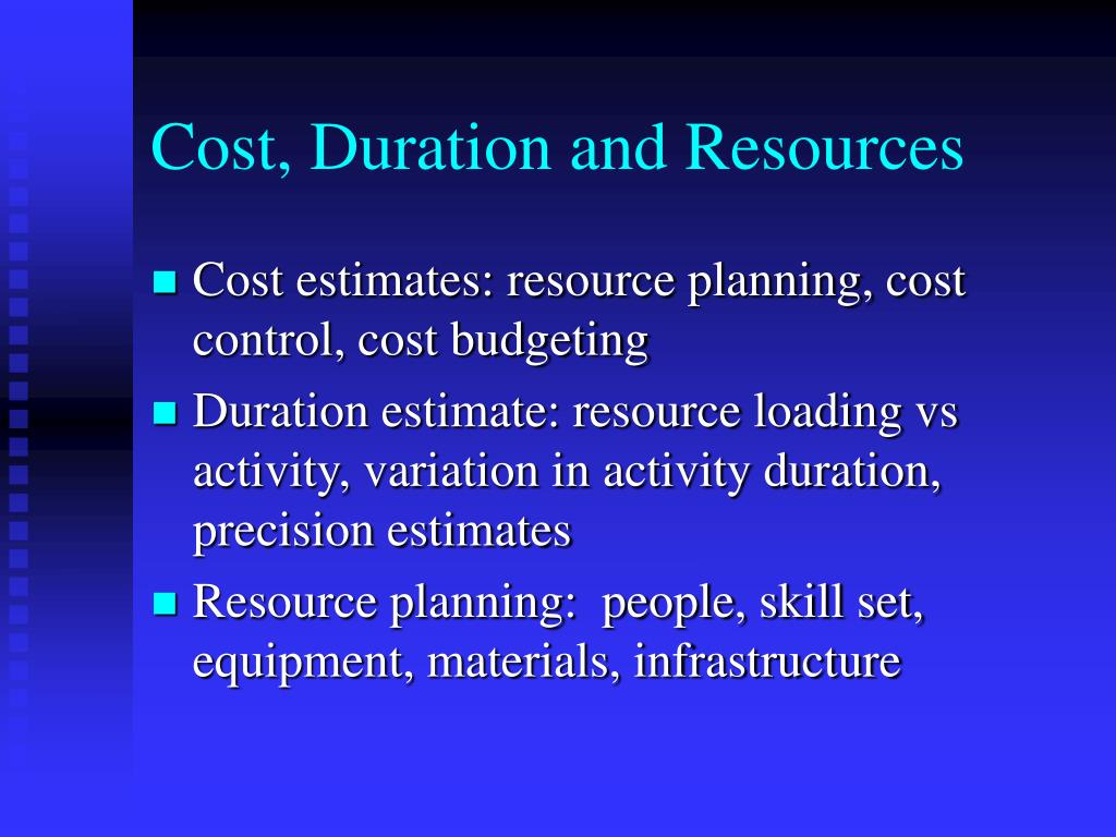 Cost, Duration and Resources