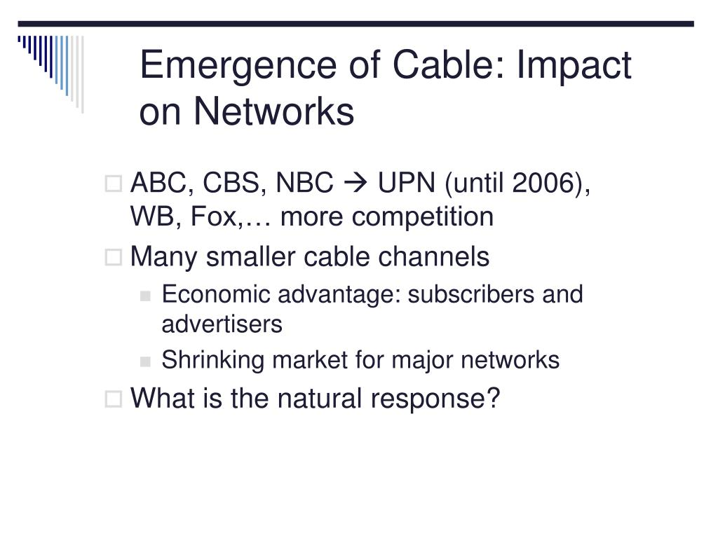 Emergence of Cable: Impact on Networks