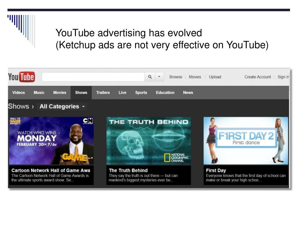 YouTube advertising has evolved