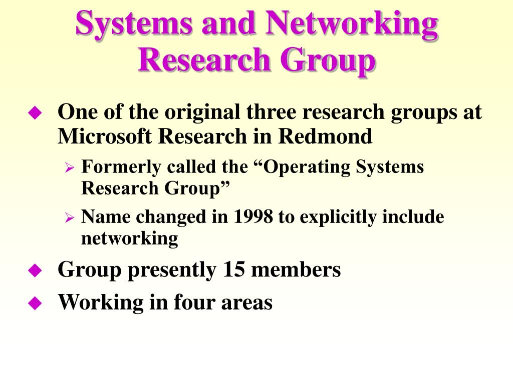 Systems and Networking Research Group
